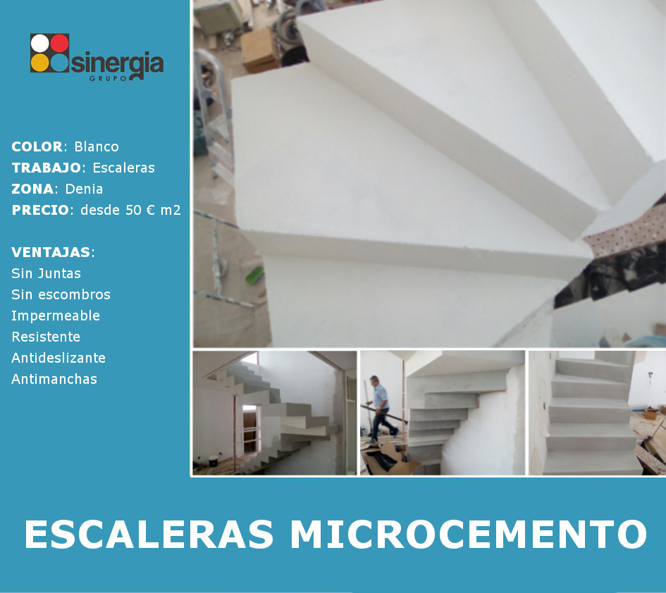 Escaleras en microcemento en vivienda de Dénia
