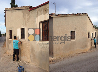 rehabilitación fachada caseta de campo